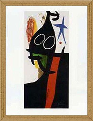 Joan Miró Poster Kunstdruck und MDF-Rahmen Viktorianisch Gold - Der Sarazene Mit Dem Blauen Stern (80 x 60cm)