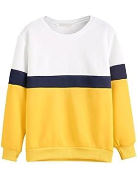 HARRYSTORE 2017 Casual mujeres cuello redondo manga larga caliente Sudadera Pullover amarillo Tops