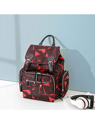 KHBHJ Wickeltasche Mumienrucksack Kinderwagentasche wasserdichte Oxford-Handtasche Wickeltasche Umstandsreisetasche, Floral Rot - Schwarz / Rot Floral Handtasche