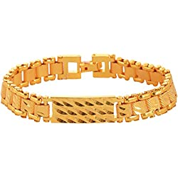 Handicraft Kottage Gold Plated Charm Bracelet for Men (Golden) (AGBR 020)