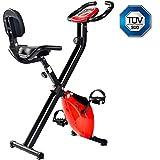 Merax Heimtrainer f Bike klappbar, 8 Widerstandsstufen, ergometer x-Bike Fahrrad Basics mit Komfortsattel/Handpulssensoren/Trainingscomputer,Sicherheit geprüft,Rot