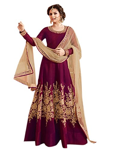 Apnisha Women\'s Tapeta Silk Fabric Embroidery Anarkali Suit (Free Size_Maroon)