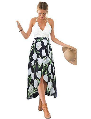 Blooming Jelly Damen Halter-Ansatz mit Tiefem V Asymmetrisches Blumenkleid mit Spitze