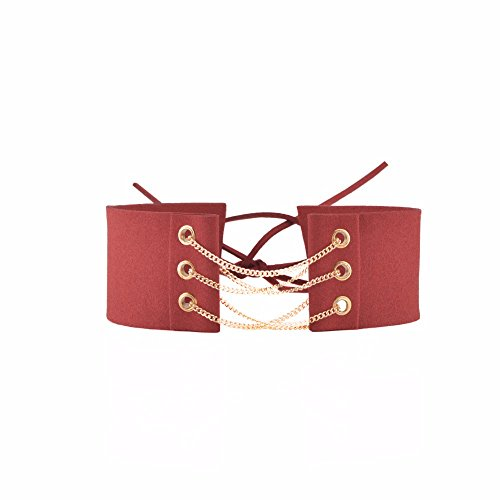 Zygeo - Ankunft Gothic Samt-Leder-Halskette Sexy Wrap binden oben schn¨¹ren sich oben Chokers f¨¹r Lady Opulente Halskette Schmuck Geschenk [rot]