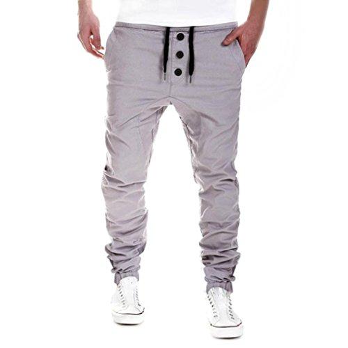 Pantaloni casual da uomo feixiang ® pantaloni della tuta pantaloni elastici sports pants pantaloni sportivi uomo jogging leggings trousers sweatpants pantaloni allenamento (grigio, l)