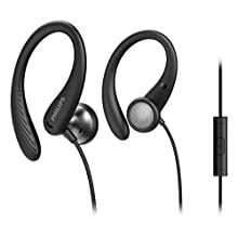 Philips Sports Headphones A1105BK/00 With Microphone, In-Ear Headphones (Flexible Ear Hook, Bass Beat Vent, IPX2 Sweat Resistant, Secure Fit, In-Line Remote Control) Black – 2020/2021 Model