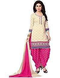 Shree balaji's women cotton unstitched dress material with dupatta off white