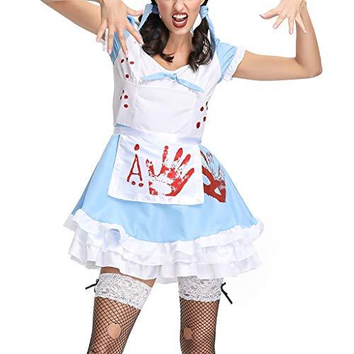 Shirt Kostüm Für Erwachsene Plus - BaojunHT Damen Halloween Kostüme Vampir Blut Schule Mädchen Uniform/Maid Wear Cosplay Kleid Shirt Set, blau, M