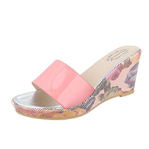 Pantoletten Damenschuhe Jazz & Modern Keilabsatz/ Wedge Keilabsatz Ital-Design Sandalen / Sandaletten Rosa