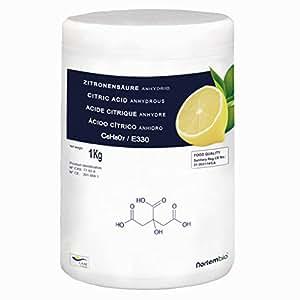 Zitronensäure 1 kg, Reine Lebensmittelqualität, 100% reines Pulver. NortemBio. In Deutschland entwickelt.
