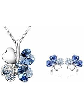 Frauen Schmucksache gesetzte blaue Kristallbonbon vier Blatt Klee Halsketten Ohrringe 18K weiße Goldkette