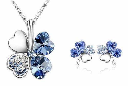 Le donne monili di catena orecchini collana di cristallo dolce Four Leaf Clover 18K White Gold - Clover Cristallo