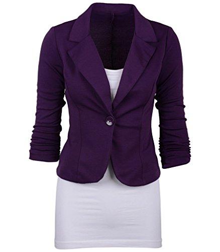 Smile YKK Tailleur Femme Chic Costume Veste Courte Manteau Manches Longues Bouton Amincissant Violet