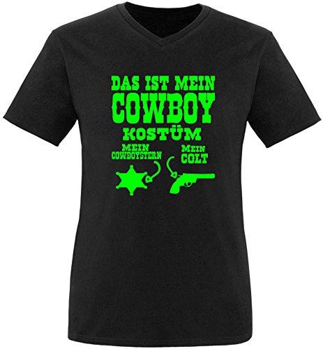 Luckja Das ist mein Cowboy Kostüm Herren V-Neck T-Shirt Schwarz/Neongrün