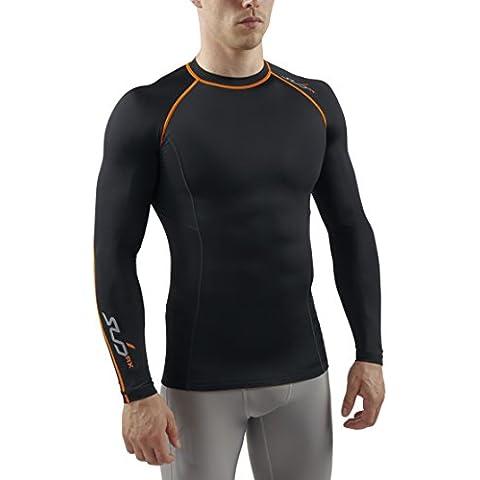 Sub Sports - Camiseta de compresión para hombre, talla S, color negro / naranja