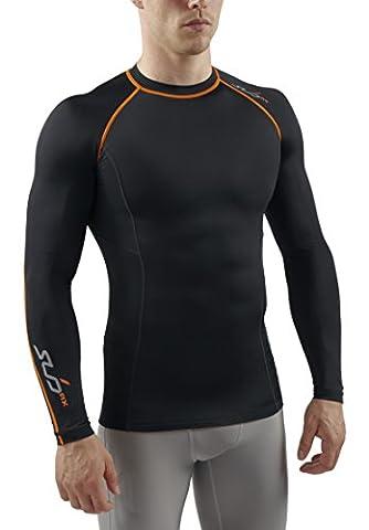 Sub Sports Herren RX Abgestufte Kompressionsshirt Funktionswäsche Base Layer langarm, Schwarz/Orange, XS