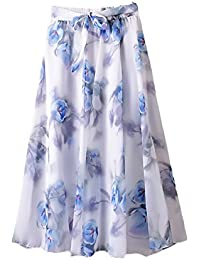 Faldas Largas Mujer Verano Vintage Moda Gasa Flores Estampadas Elástica  Cintura Alta Elegantes Casual Playa Una d0815b2d4d48