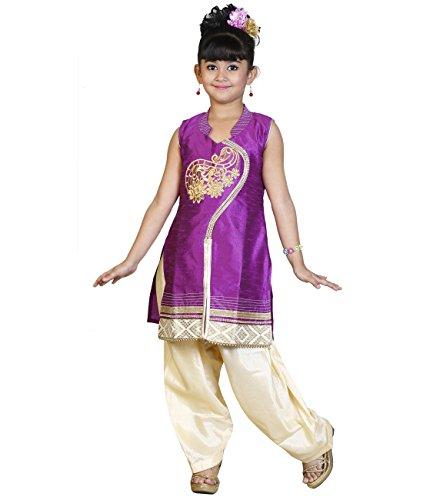 JBN Creation Girls Purple Cotton Silk Salwar Suit (Size: 7-8 Years)