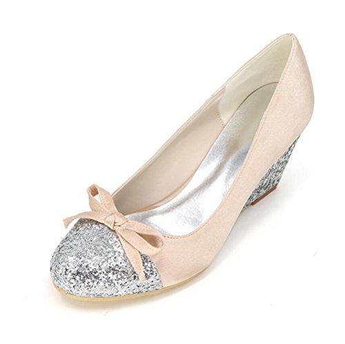 Ei&iLI delle donne raso Paillettes Scarpe a punta arrotondata farfalla scarpe da sposa abito da damigella d'onore di banchetto Tacchi EU36-EU-43 Red