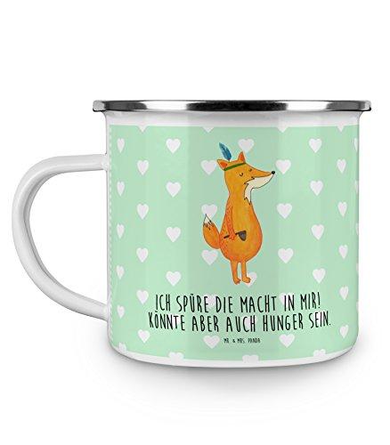 Mr. & Mrs. Panda Emaille Tasse Fuchs Indianer - 100% handmade in Norddeutschland - Kaffeetasse,...