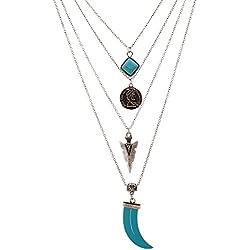 Lureme® vendimia cadena de múltiples capas de color turquesa cuadrada collar de monedas de piedra flecha colgante (01003374-2) plata antigua