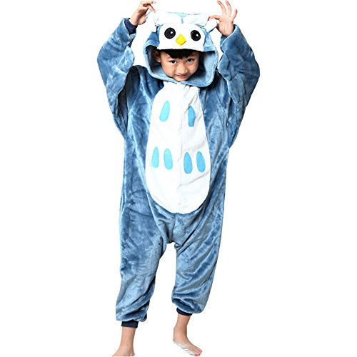 Tongchou unisex pigiama bambini costumi halloween carnevale gufo taglia 140