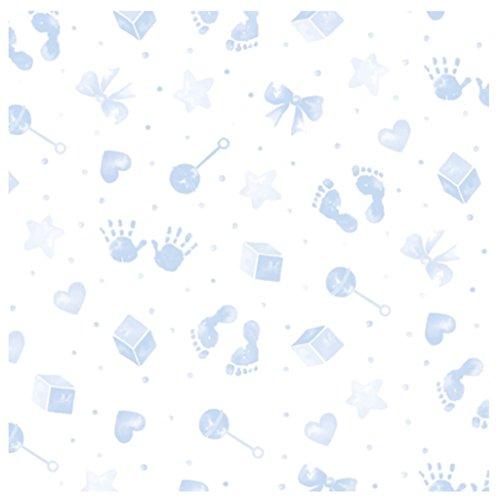 3M x 80cm Baby Print Cellophan blau & blau Schleife gefaltet für Porto