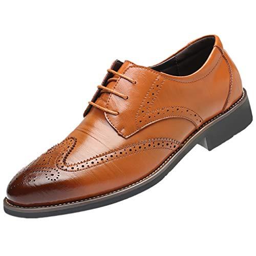 Dorical Lederschuhe Herren,Männer Business Schuhe Hochzeit Schnürhalbschuhe Elegant Oxford Anzug Leder Derby Männer Lackleder Kunstlederschuhe Schwarz Brown 37-48 (Hahn Anzug)