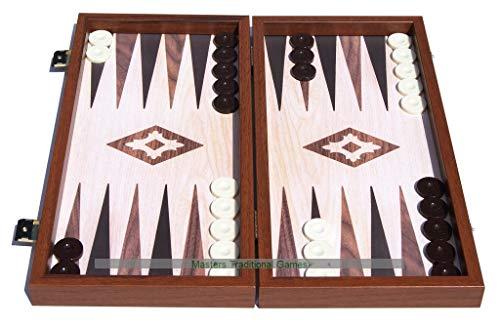 Manopoulos Compact Oak Walnut Replica Backgammon Set -
