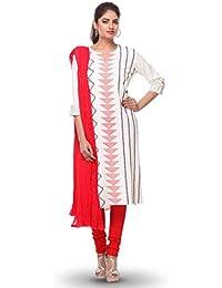 Printed Off White Cotton Flex Readymade Kurta With Legging Set