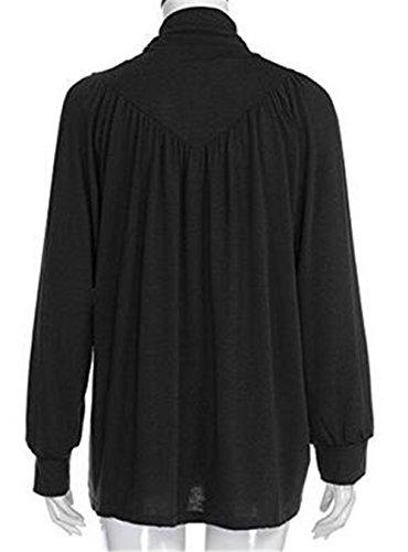 Gogofuture Mode Femmes Top Manches Longues Turtle Neck Loose T-shirt Chemise Chemiser Blouse ElÉGant Lâche Décontractée Black