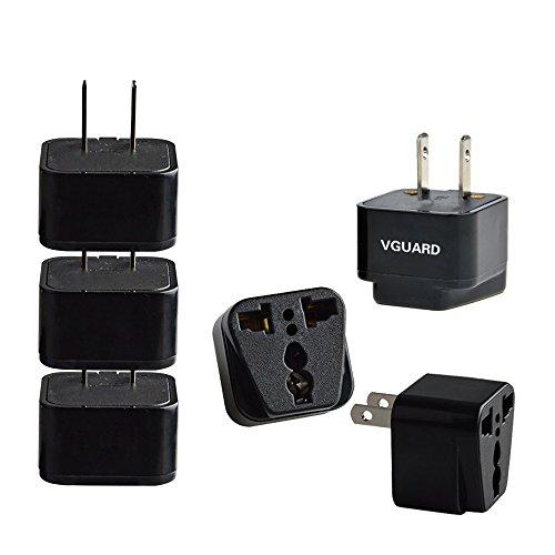 VGUARD [3 Unidades] Universal Adaptador Convertidor de Enchufe Viaje con Planos para UE/Europa, CN/China, EE.UU./ USA/Estados Unidos, Canadá,México,Cuba,Japón,Hong Kong,Taiwán, etc - Negro