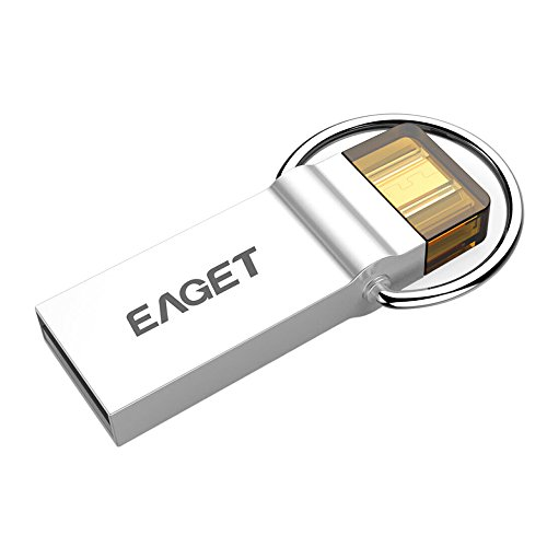 Preisvergleich Produktbild 16GB USB Memory Stick Lightning Flash Drive,EAGET USB 3.0 High Speed DataTraveler Memory Stick mit Schlüsselanhänger USB Speicher mit Schlüsselanhänger Metall Silber
