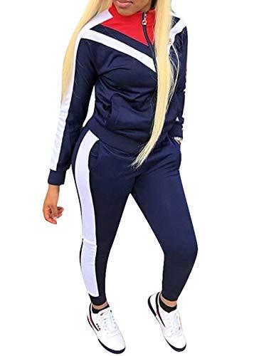ORANDESIGNE Damen Mode Streifen Trainingsanzug Frauen Lange Ärmel Zipper Top + Lange Hose Sportswear 2 Stück Set Sport Yoga Outfit Dunkelblau DE 44
