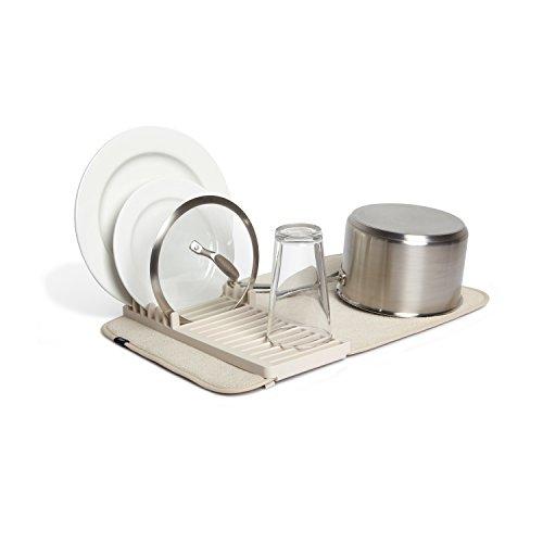 UMBRA Udry Mini. Petit égouttoir à vaisselle et tapis de séchage en microfibre - Léger, pliable et facile à ranger - dim 33x50.8cm, coloris beige lin