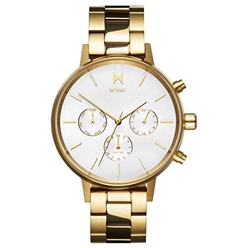 MVMT NOVA Solis Lunar weiß/ Gold Edelstahl Damen Armbanduhr