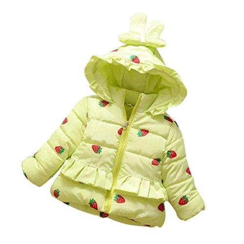 Kleinkind Winterjacke Hirolan Baby Daunenjacke Baseball Jacke Säugling Kleinkind Mädchen Erdbeere Warm Winter Mantel Tops Beiläufig Outwear Kleider (S, Grün) (Reisen Pant Knit Set)