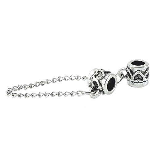 1x-pandora-plata-joyeria-cadena-de-seguridad-pequeno-corazones-de-plata-aleacion
