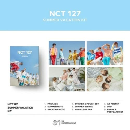 NCT 127-2019 NCT 127 Summer Vacation KIT DVD+2Notes+Summer Bottle+Mini Clear Fan+On Pack Posters+Frame&Film Set+Double Side Extra Photocards Set -