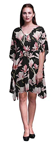 Bimba schwarz2 Blumen- Untertasse Magnolie Kurzes Kaftan-Midikleid Strandbadebekleidung vertuschen Damen-Kaftan-S-L - Magnolia Blumen-print