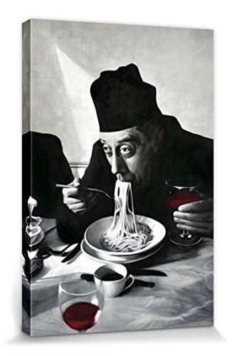 1art1 54505 Kochkunst - Spaghetti, Rotwein, Don Camillo Leinwandbild Auf Keilrahmen 120 x 80 cm