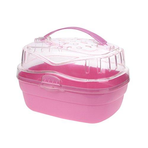 UKCOCO Tragbarer Transportbox für Kleintiere, 20 x 16 x 15 cm (Rosa)