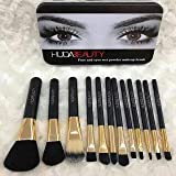 Brand New 12 Pcs Face And Eyes Wet Powder Makeup Brush Set | With Aluminum Covers On Handle