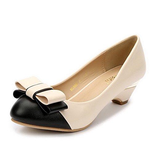 AalarDom Damen Rein Niedriger Absatz PU Rund Zehe Ziehen auf Pumps Schuhe