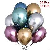 50 Pezzi Palloncini Metallici, Cromato Palloncini in Metallo Colore Decorazione per Matrimonio Ragazza Ragazzo Compleanno JGA Addio al Nubilato (Oro Argento Blu Verde Rosa Rosso Viola)