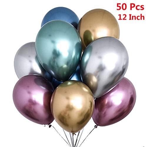 50Stück Luftballons Metallic,Bunt Verchromte Ballons in 7Metallischen Farben Metallfarbe Dekoration für Jugendweihe Mädchen Junge Geburtstag JGA Hen Party (Gold Silber Blau Grün Rosa Rot Lila)