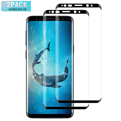 Flysee Cristal Templado para Samsung Galaxy S8, [2-Unidades] Protector de Pantalla para Samsung Galaxy S8, Cobertura Completa, Sin Burbujas, Alta Definicion [9H Dureza] [Anti-Arañazos] - Negro