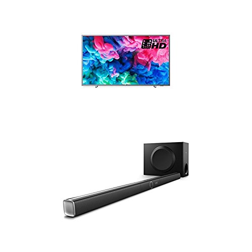 Philips 55PUS6523/12 55-Inch 4K Ultra HD Smart TV with HDR Plus, Freeview Play and Philips HTL5160B/12 3.1 Streaming-Soundbar
