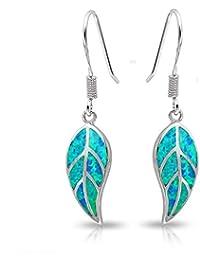 lanmpu Jewelry sintético azul Ópalo Pendientes Colgantes De Hoja Naturaleza 925Plata