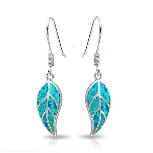 LANMPU 925 Sterling-silber Blauer Opal Einlage Natur Blätter baumeln lässt Ohrringe
